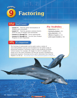 Chapter 9: Factoring
