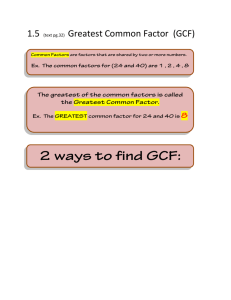 1.5 Greatest Common Factor