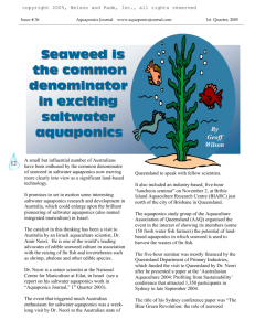 Seaweed is the common denominator in exciting saltwater aquaponics