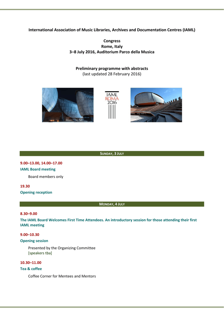 Preliminary Programme With Abstracts