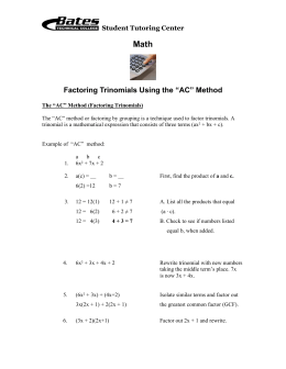 "Factoring Trinomials Using the ""AC"" Method"