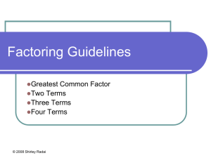 Factoring Guidelines