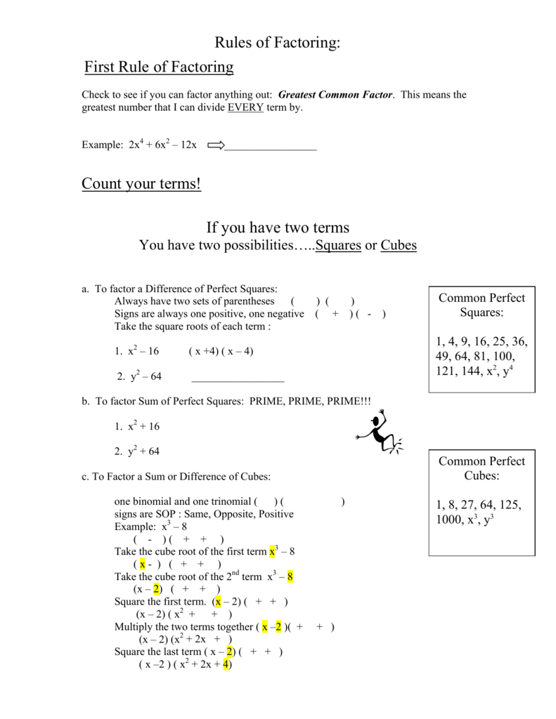 Rules of Factoring First Rule of Factoring Count your terms If you – Factoring Ax2 Bx C Worksheet