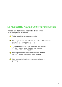 4.6 Reasoning About Factoring Polynomials