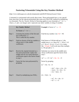 Factoring Trinomials Using the Key Number Method