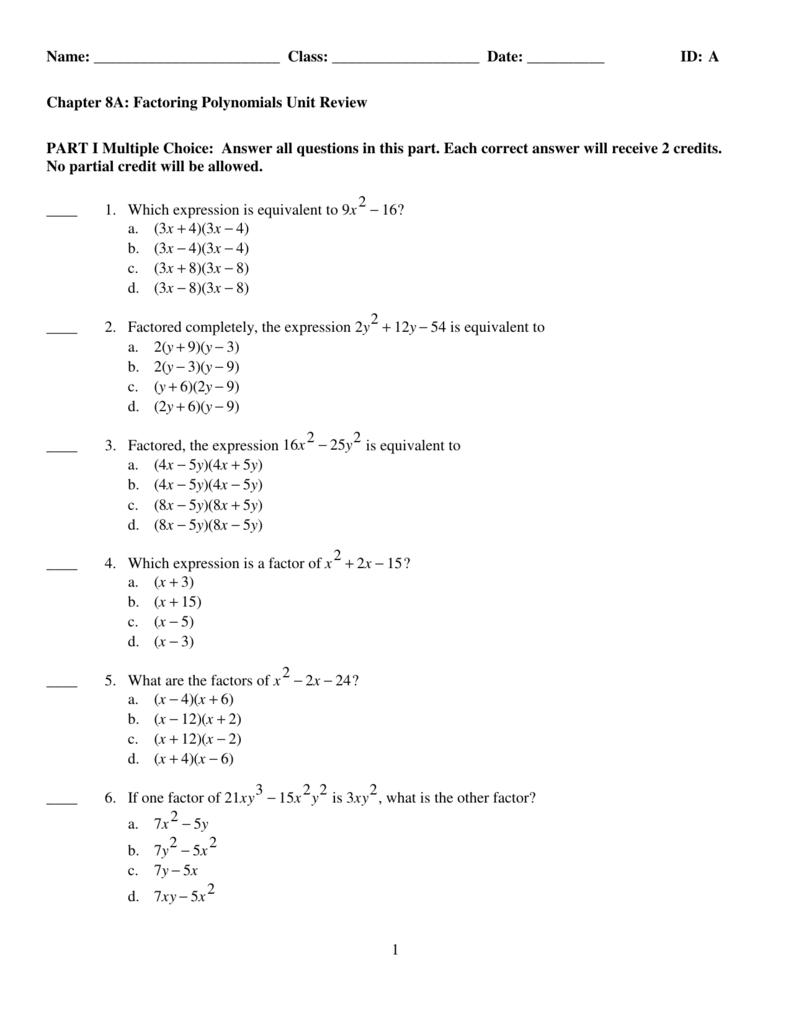 Worksheets Factoring Special Cases Worksheet examview factoring unit review tst
