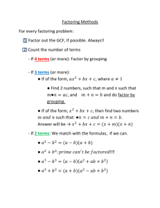 Factoring Methods Overview
