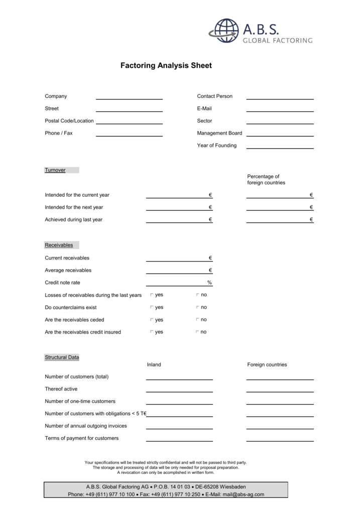 Factoring Analysis Sheet - ABS Global Factoring AG