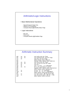 Arithmetic/Logic Instructions Arithmetic Instruction Summary