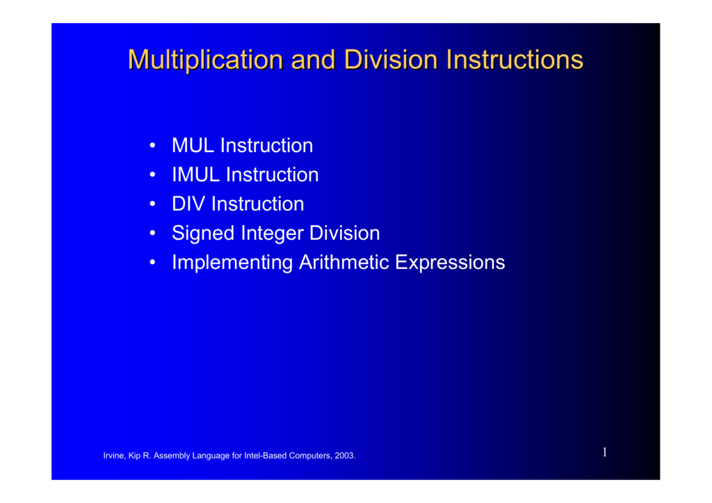 Multiplication And Division Instructions