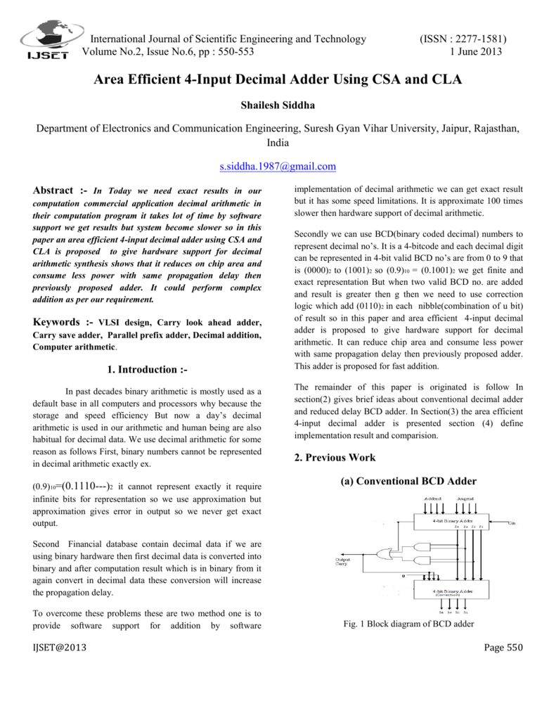Area Efficient 4 Input Decimal Adder Using Csa And Cla Bcd To Binary Converter Electronics Telecommunication Circuit