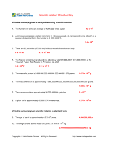 Scientific Notation Worksheet Key
