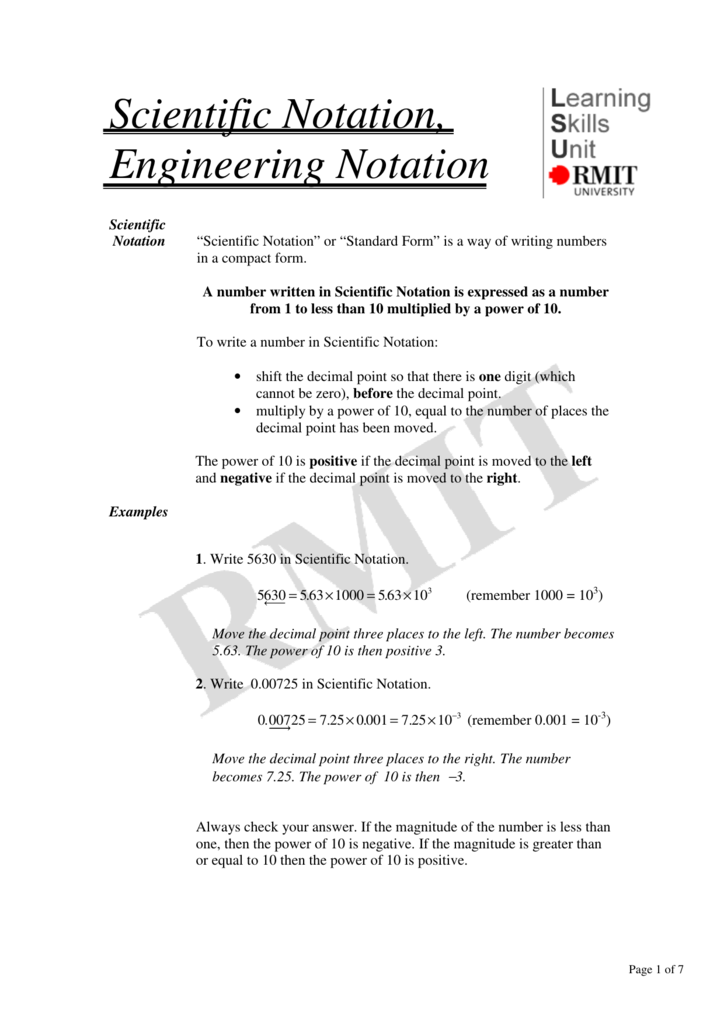 Scientific Notation Engineering Notation