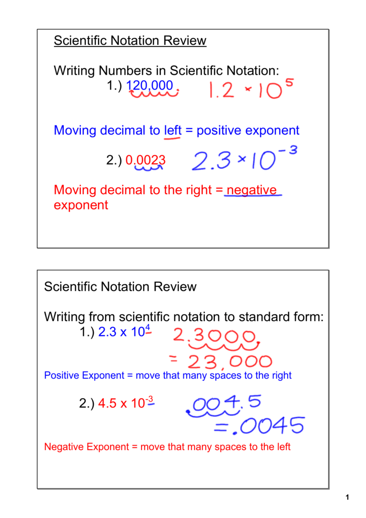 Scientific Notation Review Writing Numbers In Scientific Notation 1