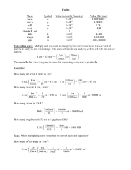 Scientific Methods Worksheet 2: Name Symbol Value (scientific Notation) Value (Decimal) nano n