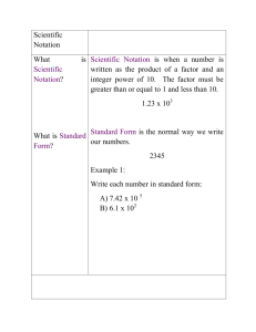 Scientific Notation What is Scientific Notation?