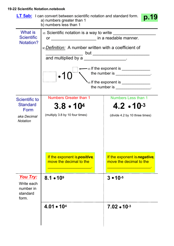 19 22 Scientific Notationtebook
