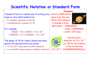 Scientific Notation or Standard Form