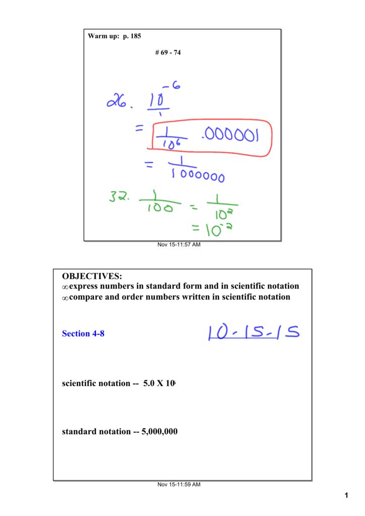 Express Numbers In Standard Form And In Scientific Notation
