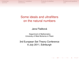 Some ideals and ultrafilters on the natural numbers