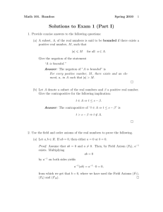 Solutions to Exam 1 (Part I)