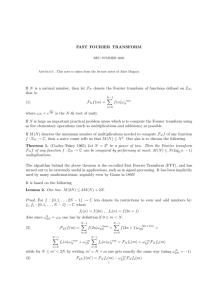 FAST FOURIER TRANSFORM If N is a natural number, then let F N