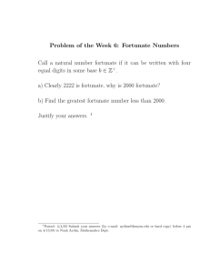 Problem of the Week 6: Fortunate Numbers Call a natural number