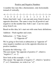 Positive and Negative Numbers A number line runs like a