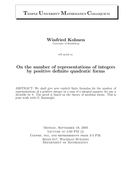 Winfried Kohnen On the number of representations of integers by