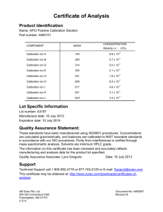 Certificate of Analysis for APCI Positive Calibration Solution