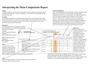 Interpreting the Mean Comparisons Report