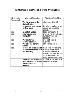 The Meaning of the Preamble of the United States