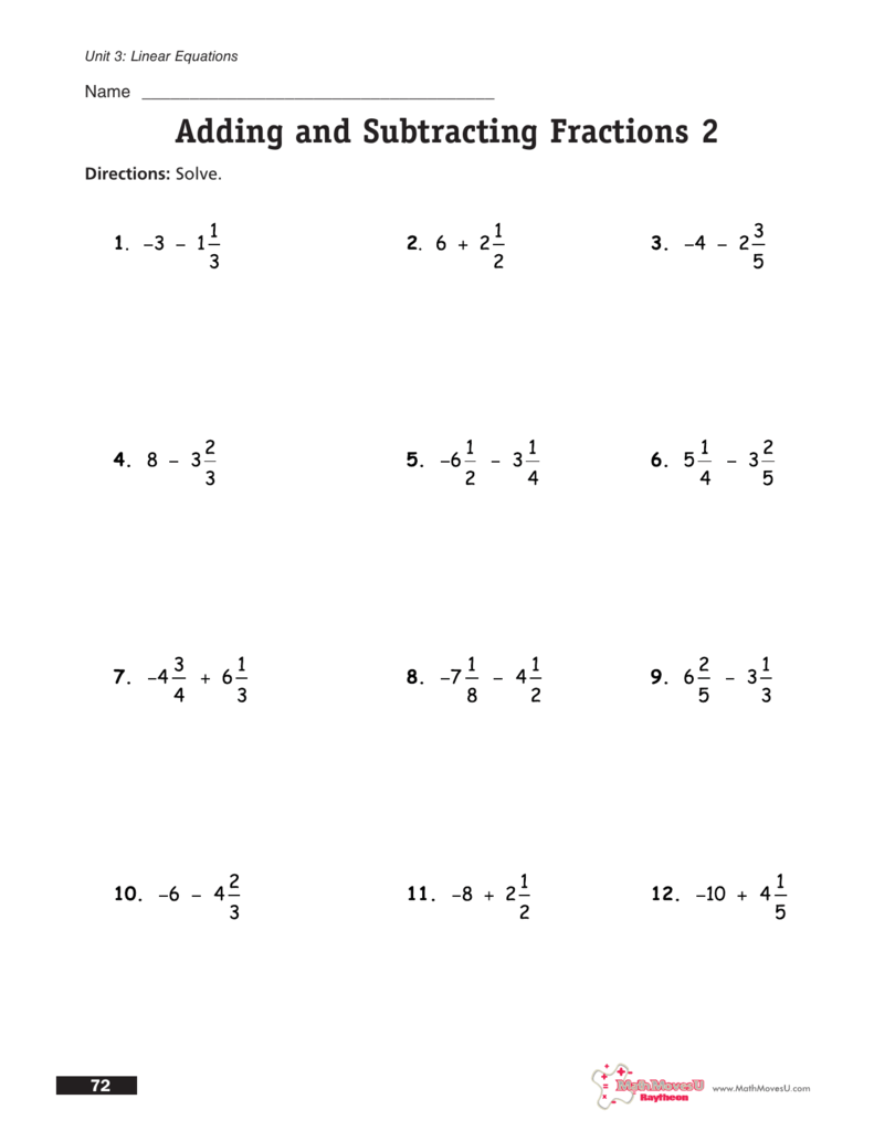 How To Add And Subtract Fractions Video – Adding and Subtracting Fractions with Whole Numbers Worksheets