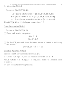 Set Intersection Method Example. Find GCF(36,48).