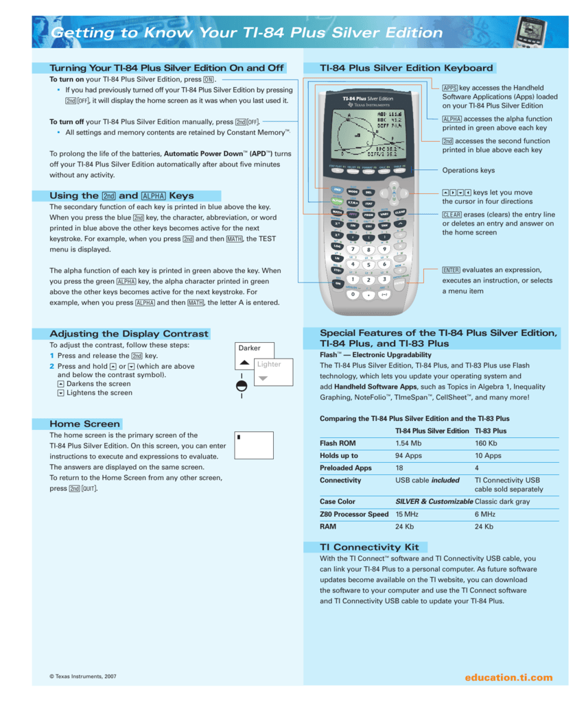 Getting to Know Your TI-84 Plus Silver Edition