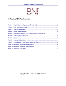 12 Weeks of BNI Fundamentals