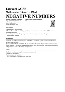 negative numbers - Castleford Academy