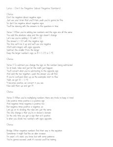Lyrics - Don`t be Negative (about Negative Numbers) Chorus Don`t