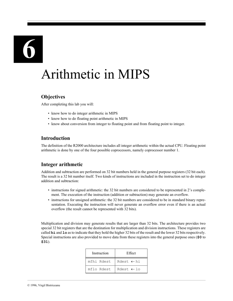 Arithmetic in MIPS