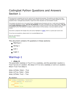 Codingbat Python Questions and Answers Section 1 Warmup-1