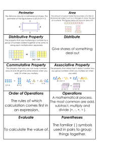 Perimeter Area Distributive Property Distribute Commutative