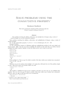 Solve problems using the commutative property∗