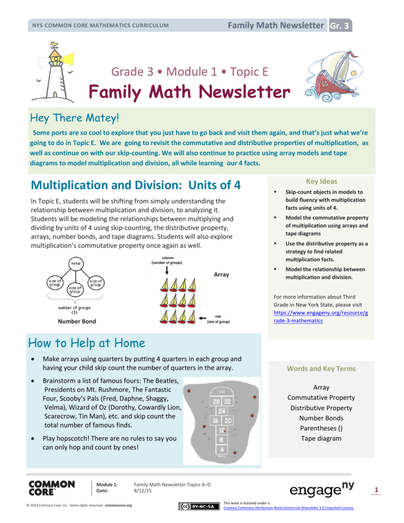 Tape Diagram Common Core | Family Math Newsletter
