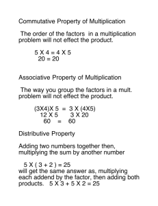 Commutative Property of Multiplication The order of the factors in a