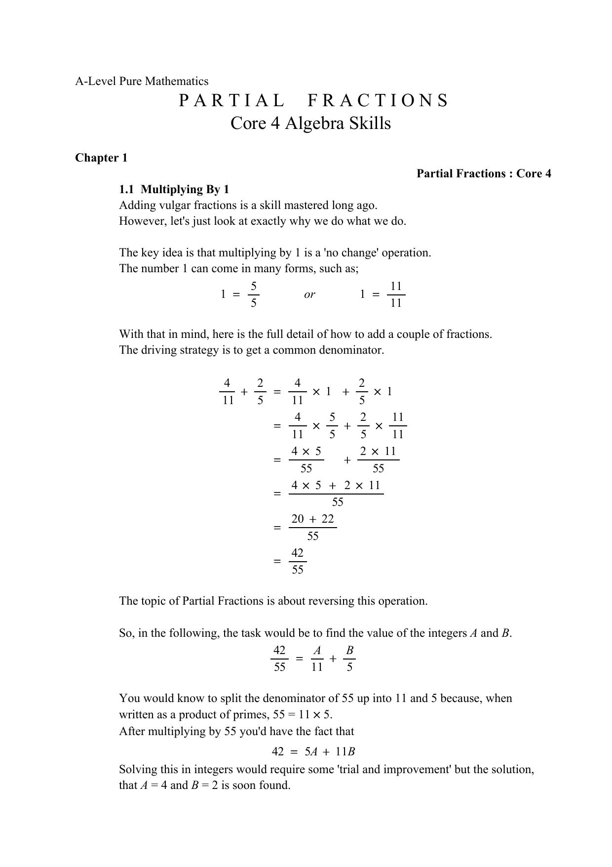 Partial Fractions (C4) PDF