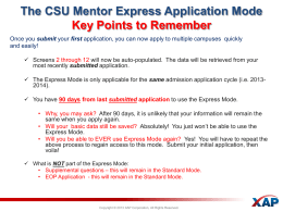 The CSU Mentor Express Application Mode Key Points to Remember