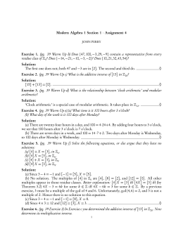 Modern Algebra 1 Section 1 · Assignment 4 Exercise 1. (pg. 39
