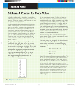 Teacher Note Stickers: A Context for Place Value