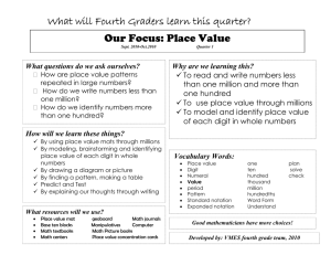 What will Fourth Graders learn this quarter? Our Focus: Place Value