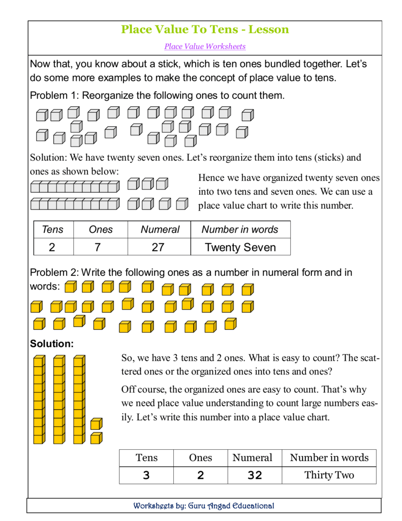36a3f3a564 Place Value To Tens - Lesson Place Value Worksheets Now that, you know  about a stick, which is ten ones bundled together. Let's do some more  examples to ...